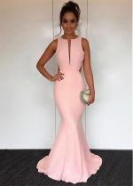 Simple Jewel Neckline Floor-length Mermaid Evening / Prom Dress