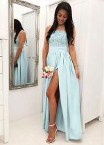 Brisk Jersey Jewel Neckline A-line Bridesmaid Dresses With Slit
