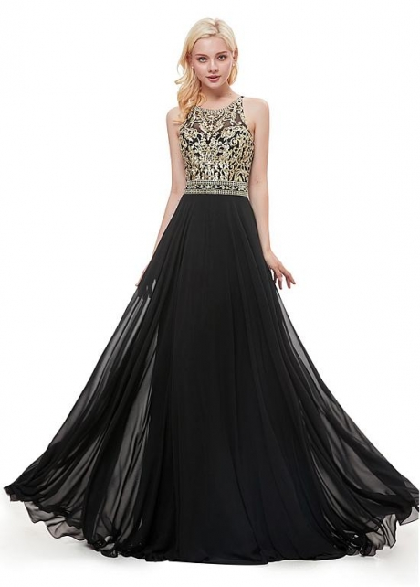 Glamorous Chiffon Jewel Neckline Floor-length A-line Prom Dress With Beadings & Embroidery