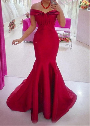 Fabulous Satin Off-the-shoulder Neckline Mermaid Evening Dress