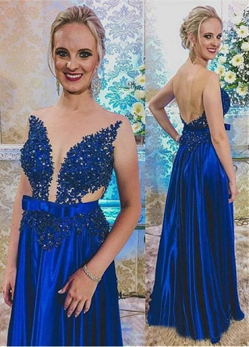 Sparkling Jewel Neckline Floor-length A-line Evening Dress With Belt & Bowknot & Beaded Lace Appliques