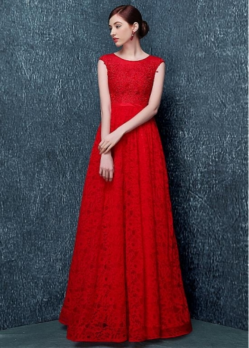 Fantastic Lace Jewel Neckline Full-length A-line Evening Dress With Lace Appliques & Rhinestones & Belt