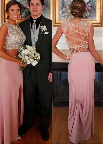 Elegant Jewel Neckline Two-piece Sheath/Column Prom Dress With Beadings