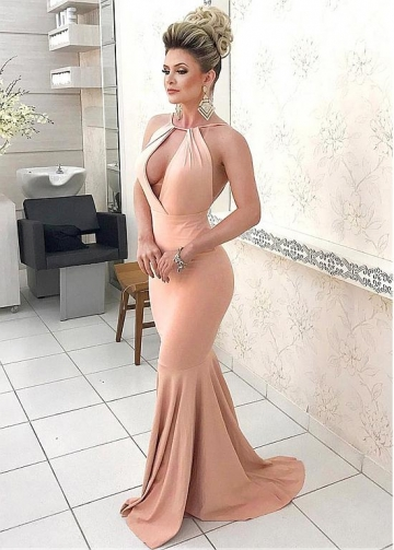 Glamorous Halter Neckline Backless Mermaid Evening Dress