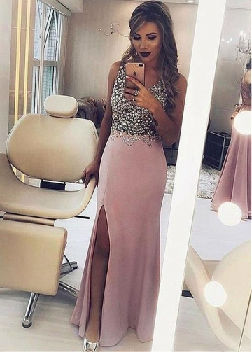 Splendid Chiffon V-neck Neckline Sheath/Column Prom Dress With Beadings & Slit