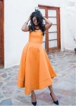 Newest Orange Strapless Neckline Tea-length A-line Prom Dress