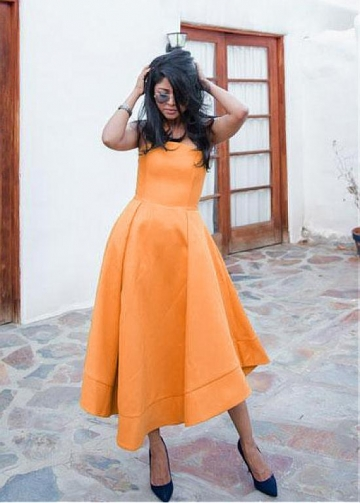 Newest Orange Strapless Neckline Tea-length A-line Prom Dress