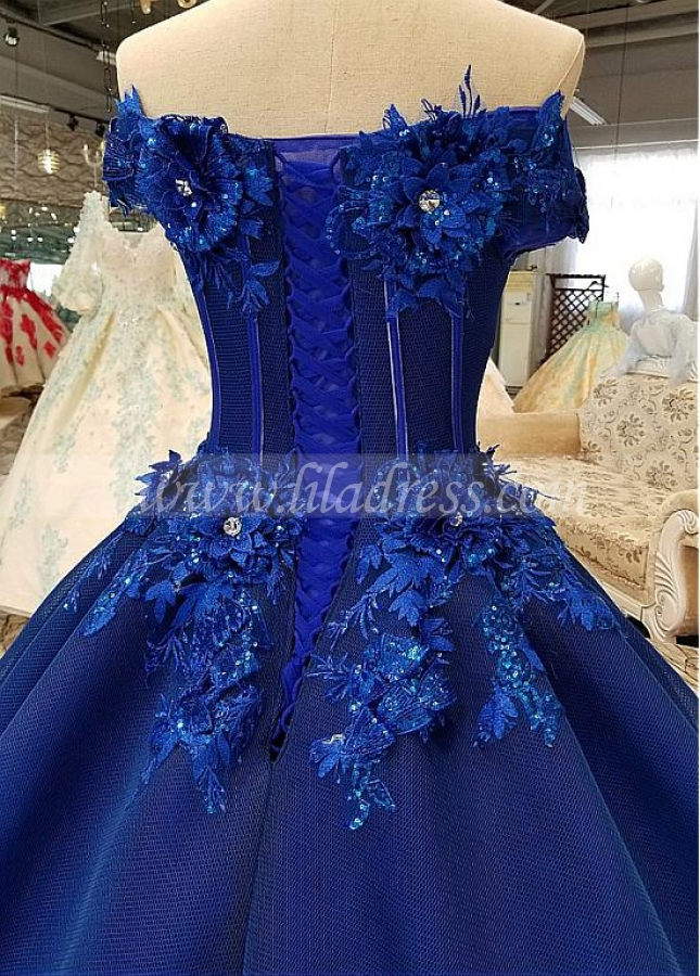 Junoesque Tulle Off-the-shoulder Neckline Ball Gown Formal Dress With Handmade Flowers & Beadings & Lace Appliques