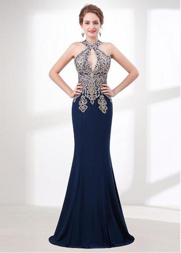 Graceful Halter Neckline Mermaid Evening / Prom Dress