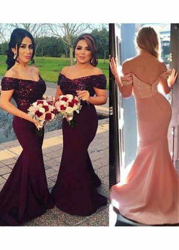 Sparkling Sequin Lace & Satin Off-the-shoulder Neckline Full Length Mermaid Bridesmaid Dresses