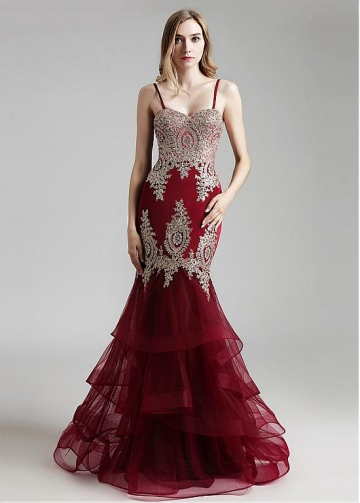 Fashionable Tulle Spaghetti Straps Neckline Mermaid Evening Dress With Beaded Lace Appliques