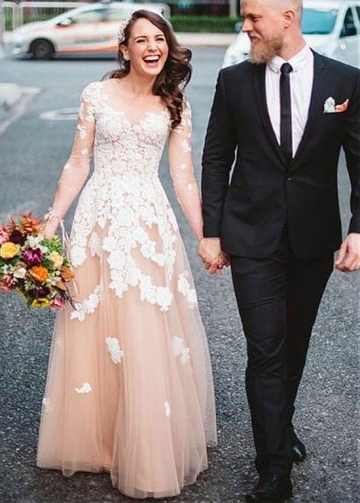 Elegant Tulle Scoop Neckline Long Sleeves A-line Evening Dress With Lace Appliques