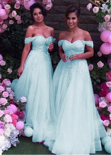 Fabulous Tulle Off-the-shoulder Neckline Floor-length A-line Bridesmaid Dresses With Lace Appliques