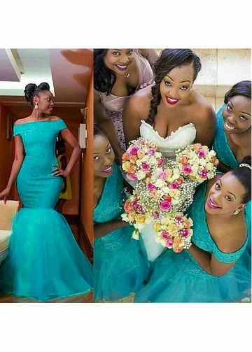 Beautiful Lace & Tulle Off-the-shoulder Neckline Mermaid Bridesmaid Dresses