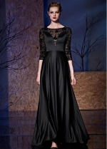 Elegant Tulle & Satin Bateau Neckline 3/4 Length Sleeves A-line Formal Dresses With Beadings