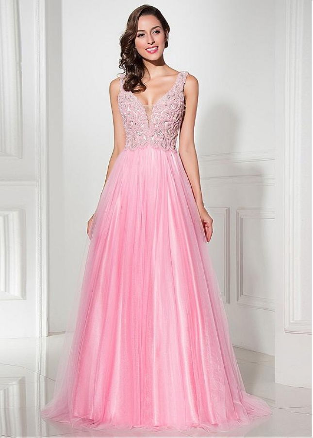 Graceful Tulle V-neck Neckline A-line Prom Dresses With Beadings