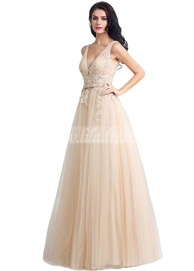 Junoesque Tulle V-neck Neckline A-line Evening Dresses With Bowknot