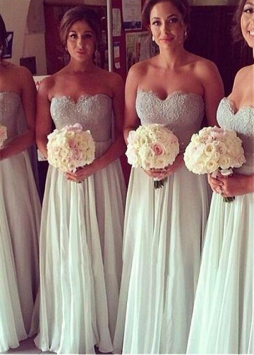 Alluring Lace & Chiffon Sweetheart Neckline Floor-length A-line Bridesmaid Dresses
