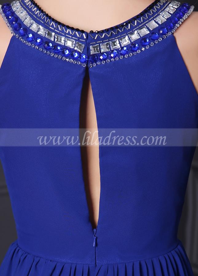 Junoesque Chiffon Jewel Neckline A-Line Formal Dresses