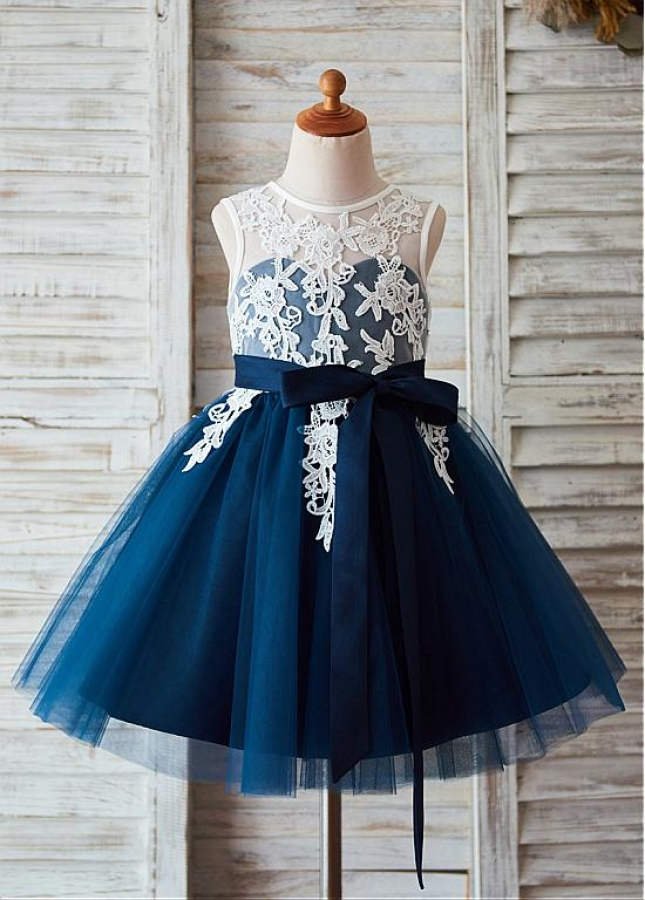 Exquisite Lace & Tulle & Satin Jewel Neckline A-line Flower Girl Dresses