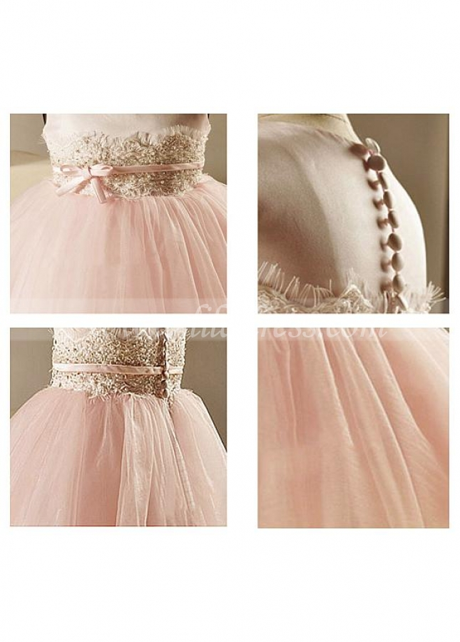 Pretty Satin & Tulle Jewel Neckline Ball Gown Flower Girl Dress With Beaded Lace Appliques & Belt
