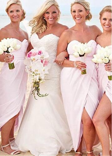 Unique Chiffon Sweetheart Neckline Hi-lo Sheath/Column Bridesmaid Dresses