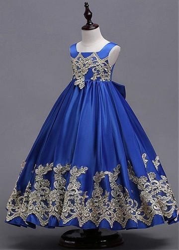 Elegant Satin Square Neckline Floor-length A-line Flower Girl Dress With Lace Appliques