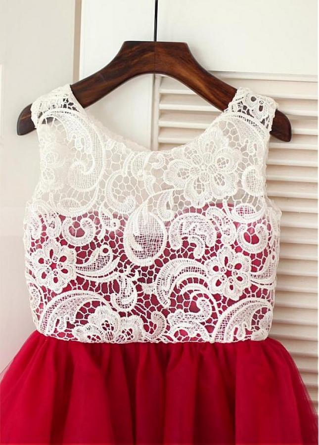 Sweet Lace & Tulle Scoop Neckline A-line Flower Girl Dresses