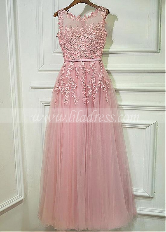 Charming Tulle Jewel Neckline A-line Silver Bridesmaid Dress