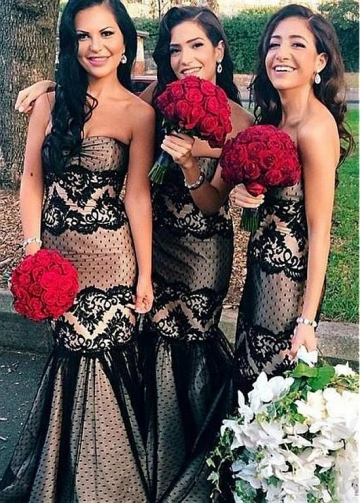 Glamorous Polka Dot Tulle & Satin Sweetheart Neckline Mermaid Bridesmaid Dresses With Lace Appliques