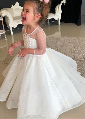 Fabulous Polka Dot Tulle Jewel Neckline A-line Flower Girl Dresses With Beaded Lace Appliques
