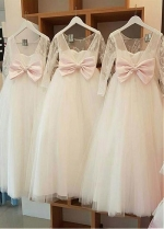 Fabulous Lace & Tulle Jewel Neckline A-line Flower Girl Dresses With Bowknot