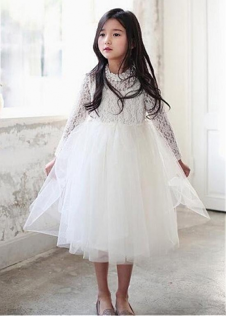 Attractive Lace & Tulle Jewel Neckline A-line Flower Girl Dresses