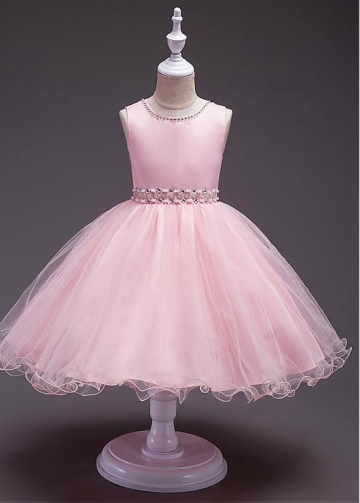 Fantastic Satin & Tulle Jewel Neckline A-line Flower Girl Dress With Beadings