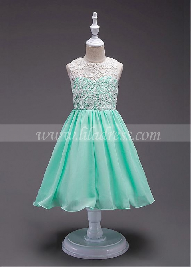 Marvelous Lace & Chiffon Jewel Neckline A-line Flower Girl Dress