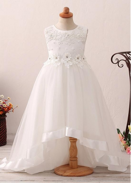 Exquisite Tulle Jewel Neckline Hi-lo A-line Flower Girl Dress With Lace Appliques & Beadings & Belt