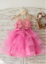 Modest Tulle Jewel Neckline Knee-length Ball Gown Flower Girl Dresses With Flowers