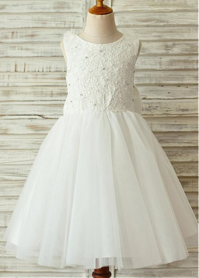 Modern Lace & Tulle Scoop Neckline Knee-length A-line Flower Girl Dresses With Bowknot & Feathers & Beadings