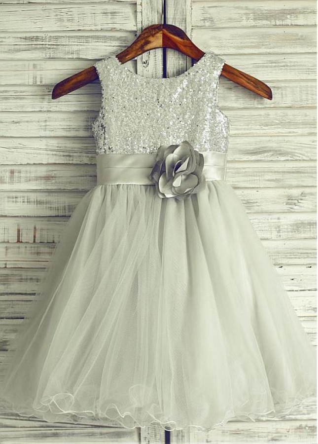 Eye-catching Sequin Lace & & Tulle Scoop Neckline Tea-length A-line Flower Girl Dresses With Handmade Flowers