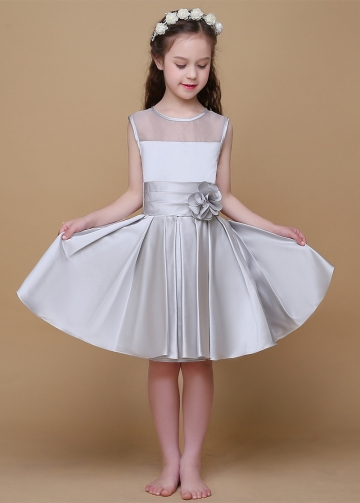 Fabulous Organza & Satin Scoop Neckline A-Line Flower Girl Dresses With Handmade Flower