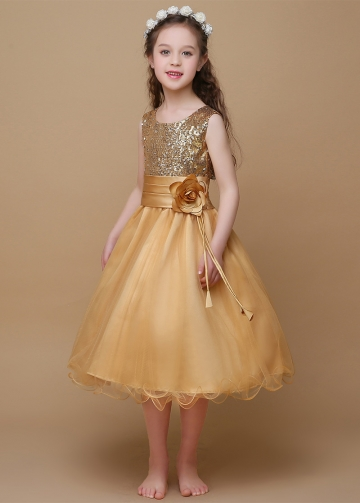 Sparkling Sequin Lace & Tulle Scoop Neckline A-Line Flower Girl Dresses