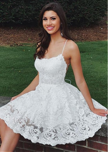 Alluring Tulle Spaghetti Straps Neckline Short A-line Homecoming Dresses