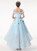 Romantic Lace Off-the-shoulder Neckline Hi-lo A-line Homecoming Dress With Beadings & 3D Flowers