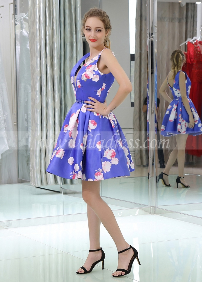 Exquisite V-neck Neckline Short Length A-line Print Homecoming Dresses With Beadings