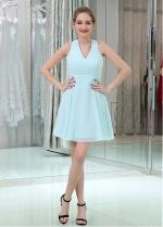 Light Blue Sweet Chiffon V-neck Neckline Short Length A-line Homecoming / Bridesmaid Dresses