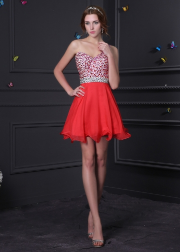 Amazing Red Chiffon A-line One Shoulder Neckline Short Homecoming Dress With diamantes