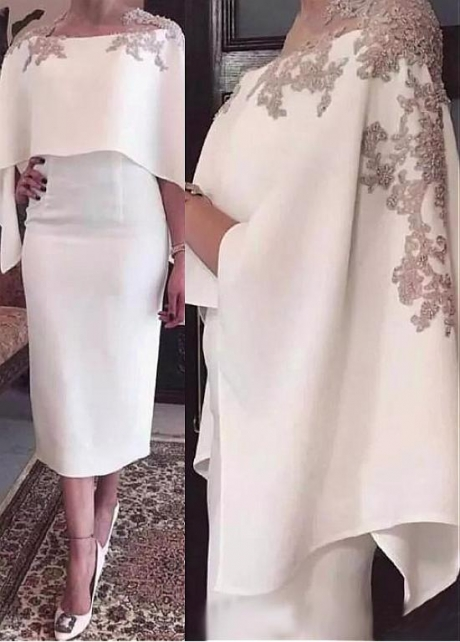 Graceful Tulle & Satin Jewel Neckline Tea-Length Sheath/Column Mother Of The Bride Dress