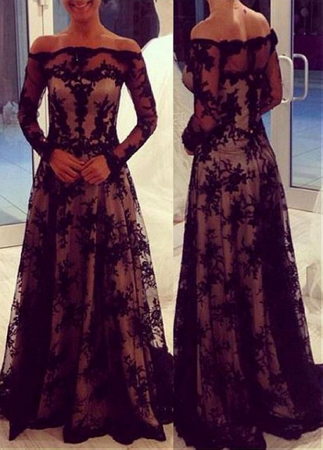 Marvelous Tulle & Lace Off-the-shoulder Neckline Illusion Sleeves A-line Mother Dress
