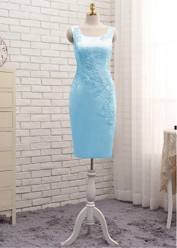 Shimmering Satin Jewel Neckline Sheath/Column Mother Of The Bride Dresses With Lace Appliques