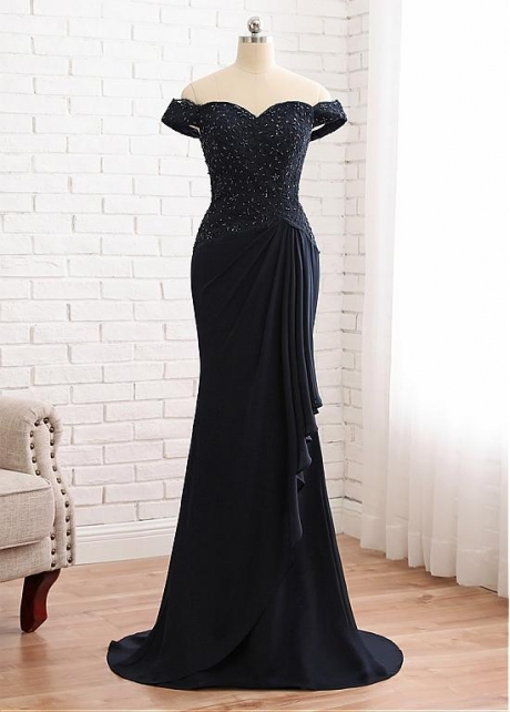 Alluring Chiffon Off-the-shoulder Neckline Mermaid Mother Of The Bride Dress With Beaded Lace Appliques